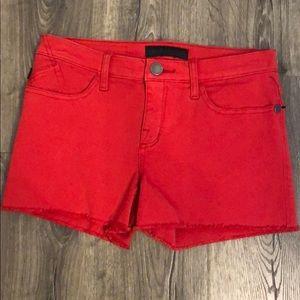 Red raw hem shorts